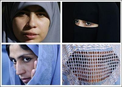 De haut en bas et de droite à gauche : hijab, niqab, tchador et burqa (montage AFP)